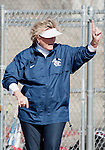 March 23, 2012:   Fresno State Bulldogs head coach Margie Wright lets her team know how many outs there are against the Nevada Wolf Pack during their NCAA softball game played at Christina M. Hixson Softball Park on Friday in Reno, Nevada.