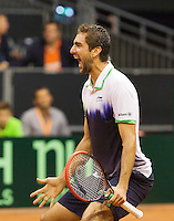 September 14, 2014, Netherlands, Amsterdam, Ziggo Dome, Davis Cup Netherlands-Croatia, Marin Cilic (CRO) wins the dividing rubber 3-2 Croatia<br /> Photo: Tennisimages/Henk Koster