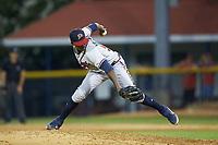 Danville Braves relief pitcher Albinson Volquez (56) in action against the Burlington Royals at Burlington Athletic Stadium on August 9, 2019 in Burlington, North Carolina. The Royals defeated the Braves 6-0. (Brian Westerholt/Four Seam Images)