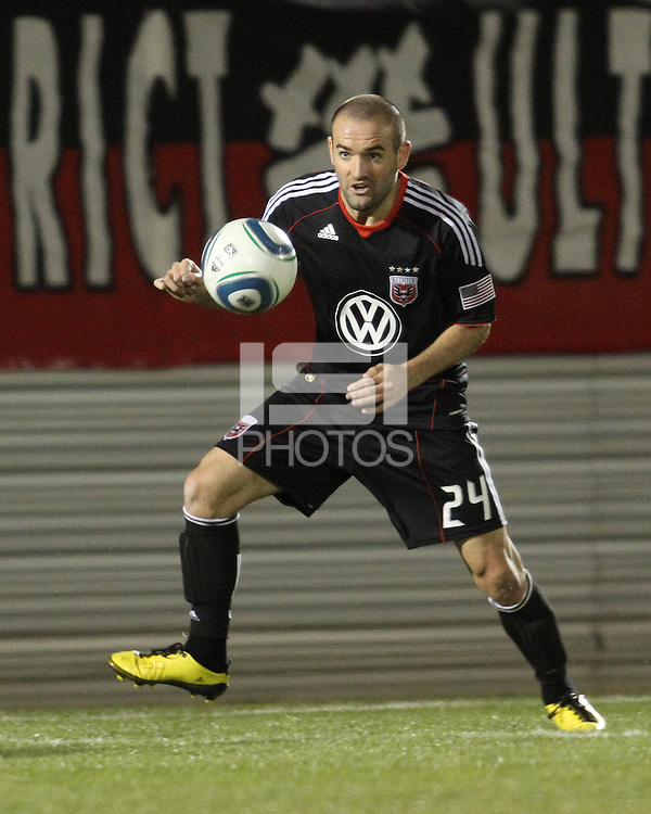 Branden Barklage(24) of D.C. United  during a play-in game for the US Open Cup tournament against the Philadelphia Union at Maryland Sportsplex, in Boyds, Maryland on April 6 2011. D.C. United won 3-2 after overtime penalty kicks.