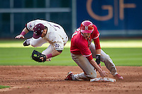 Texas A&M Aggies shortstop Blake Allemand (1) is upended by Nebraska Cornhuskers baserunner Ryan Boldt (21) at second base during Houston College Classic on March 6, 2015 at Minute Maid Park in Houston, Texas. Texas A&M defeated Nebraska 2-1. (Andrew Woolley/Four Seam Images)