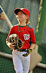 21 September 2012: Washington Nationals first baseman Adam LaRoche's son Drake LaRoche helps out during batting practice prior to a game against the Milwaukee Brewers at Nationals Park in Washington, DC. The Nationals fell to the Brewers 4-2 in the first game of their 4-game series. Mandatory Credit: Ed Wolfstein Photo