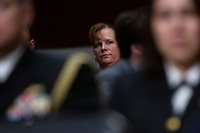 United States Army Colonel Kathryn Spletstoser who has said she was sexually assaulted by US Air Force General John E. Hyten, who is nominated to become Vice Chairman Of The Joint Chiefs Of Staff, speaks to the media following his confirmation hearing before the US Senate Armed Services Committee, on Capitol Hill in Washington D.C. on July 30, 2019. Credit: Stefani Reynolds/CNP/AdMedia