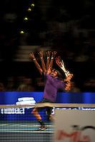 BOGOTA-COLOMBIA-15-12-2012. Roger Federer en acción durante el partido de exhibición entre Roger Federer tenista Suiza y Jo Wilfred Tsonga jugador de tenis francés en el Coliseo El Campín,diciembre 15 de 2012 en Bogotá, Colombia.  Roger Federer in action during the exhibition match between Roger Federer Swiss tennis player and Jo Wilfred Tsonga French tennis player at El Campin Coliseo on December 15, 2012 in Bogota, Colombia(Photo: VizzorImage/Luis Ramirez).