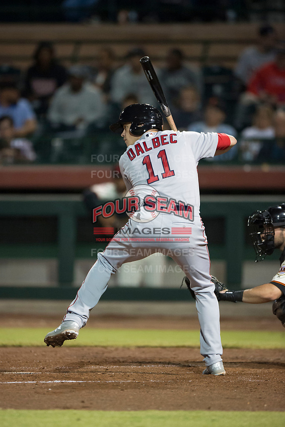 Mesa Solar Sox third baseman Bobby Dalbec (11), of the Boston Red Sox organization, at bat during an Arizona Fall League game against the Scottsdale Scorpions on October 9, 2018 at Scottsdale Stadium in Scottsdale, Arizona. The Solar Sox defeated the Scorpions 4-3. (Zachary Lucy/Four Seam Images)