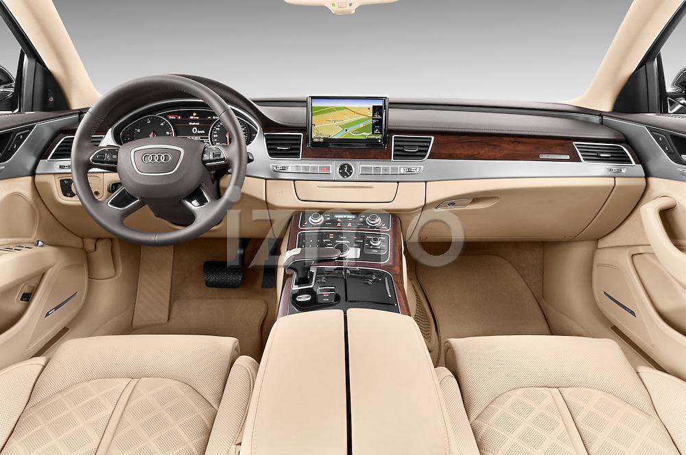 Straight dashboard view of a 2013 Audi A8 L W12 4 Door Sedan 4WD