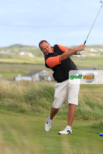 Ben Best (Rathmore) on the 11th tee during the South of Ireland Amateur Open Championship Quarter Finals at Lahinch Golf Club  30th July 2013 <br /> Picture:  Thos Caffrey / www.golffile.ie
