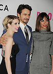LOS ANGELES, CA- MAY 05: (L-R) Actors Emma Roberts, James Franco and writer/director Gia Coppola arrive at Tribeca Film's 'Palo Alto' - Los Angeles Premiere at the Director's Guild of America on May 5, 2014 in Los Angeles, California.