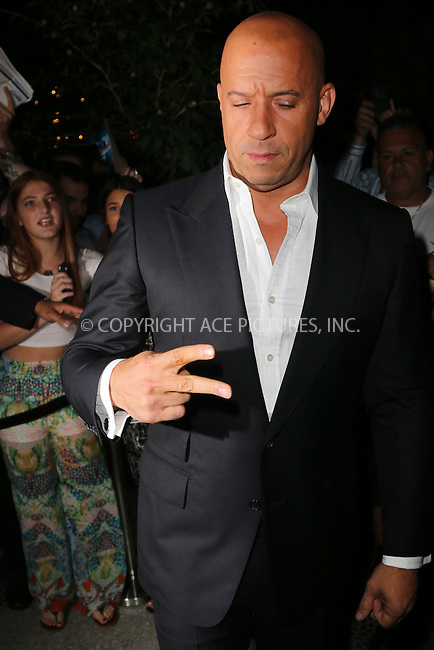 WWW.ACEPIXS.COM<br /> July 29, 2014 New York City<br /> <br /> Vin Diesel attends a special screening of Marvel's 'Guardians of the Galaxy' at Crosby Street Hotel on July 29, 2014 in New York City. <br /> <br /> By Line: Zelig Shaul/ACE Pictures<br /> ACE Pictures, Inc.<br /> tel: 646 769 0430<br /> Email: info@acepixs.com<br /> www.acepixs.com