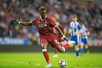 Divock Origi of Liverpool during the pre season friendly match between Wigan Athletic and Liverpool at the DW Stadium, Wigan, England on 14 July 2017. Photo by Andy Rowland.