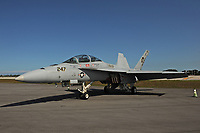 FORT LAUDERDALE FL - MAY 04: U.S. Navy F/A-18F Super Hornet sits on the tarmac at Fort Lauderdale Executive Airport during Fort Lauderdale Air Show Media day on May 4, 2017 in Fort Lauderdale, Florida. Credit: mpi04/MediaPunch