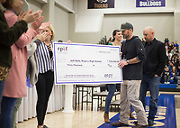 NWA Democrat-Gazette/CHARLIE KAIJO Jeff Belk, outdoor education instructor at Rogers High School, (right) accepts a surprise grant award, Friday, February 8, 2019 at Rogers High School in Rogers. <br />