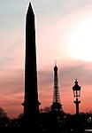 The Obelisk and Eiffel At Dusk