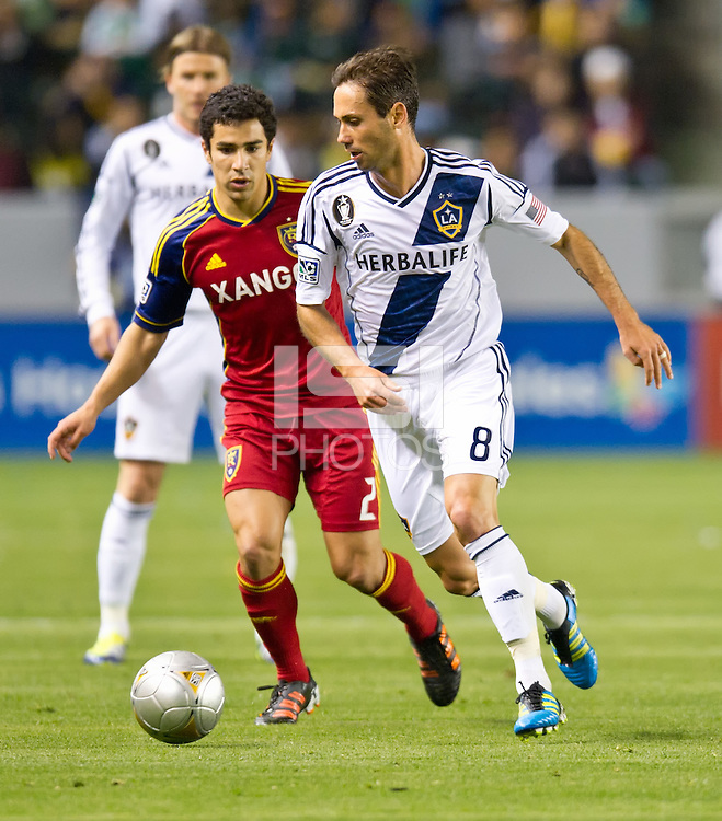 CARSON, CA - March 10,2012: LA Galaxy midfielder Marcelo Sarvas (8) during the LA Galaxy vs Real Salt Lake match at the Home Depot Center in Carson, California. Final score LA Galaxy 1, Real Salt Lake 3.