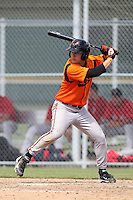 Baltimore Orioles outfielder John Ruettiger #1 during an Instructional League game against the Boston Red Sox at Buck O'Neil Complex on October 6, 2011 in Sarasota, Florida.  (Mike Janes/Four Seam Images)