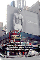 Calvin Klein Billboard in Times Sqaure in 1992 featuring Marky Mark (Mark Wahlberg). Billboard is over the closed Nathan's on the Southeast corner of West 43 St. and Broadway. The site is now occupied by the Conde Nast Building with Nasdaq in the exact location. (© Richard B. Levine)