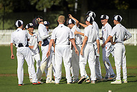 PNBHS celebrates a wicket during the 2018 Junior NZ Secondary School Cricket Boys' Tournament match between St Andrew's College and Palmerston North Boys' High School at Fitzherbert Park in Palmerston North, New Zealand on Friday, 23 March 2018.. Photo: Dave Lintott / lintottphoto.co.nz