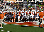 Texas Longhorns get ready for action before the game between the Brigham Young Cougars and the Texas Longhorns at the Darrell K Royal - Texas Memorial Stadium in Austin, Texas. Texas defeats Brigham Young 17 to 16...