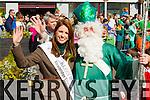Kerry Rose Mary Hickey wit Saint Patrick at Tralee Saint Patrick's day parade on Tuesday.