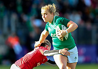 9nd February 2020; Energia Park, Dublin, Leinster, Ireland; International Womens Rugby, Six Nations, Ireland versus Wales; Cliodhna Moloney (Ireland) hands off a tackle from Lauren  Smyth (Wales)