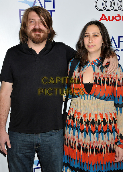 "AARON AITES & AUDREY EWELL.AFI Fest 2008 Opening Night Gala Premiere of ""Doubt"" at ArcLight Cinemas, Hollywood, California, USA..October 30th, 20008.half length black top beard facial hair orange beige blue pattern dress .CAP/ADM/BP.©Byron Purvis/AdMedia/Capital Pictures."