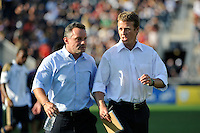 Philadelphia Union manager Peter Nowak (L) and coach John Hackworth (R) talk during halftime. The Philadelphia Union defeated CD Chivas USA 3-0 during a Major League Soccer (MLS) match at PPL Park in Chester, PA, on September 25, 2010.