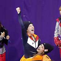 20th February 2018 , Gangneung Ice Arena, South Korea; 2018 Winter Olympic Games;  Lara van Ruijven celebrates as she is awarded the gold medal with Suzanne Schulting. van Ruijven dies from an auto-immune system disease on June 10th 2020