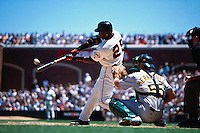 SAN FRANCISCO, CA - Barry Bonds of the San Francisco Giants bats against the Oakland Athletics during a game at AT&T Park in San Francisco, California on June 16, 2001. Photo by Brad Mangin