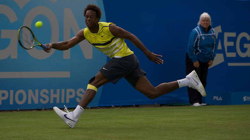 Gael MONFILS (FRA) (4) against A Golubev (KAZ) in the Aegon Championships at Queens Club, London. ..Rain Stopped play Tennis - ATP World Tour 250 - AEGON Championships - Queen's Club - London - Day 2 - Tue 09 Jun 2009...