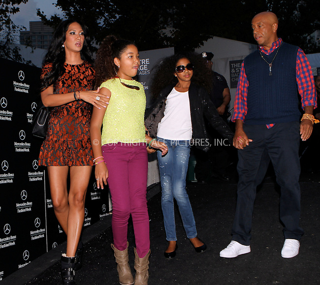 WWW.ACEPIXS.COM....September 8 2012, New York City....Kimora Lee, Ming Lee, Aoki Lee and Russell Simmons at Spring 2013 Mercedes Benz New York Fashion Week on September 8 2012 in New York City....By Line: Nancy Rivera/ACE Pictures......ACE Pictures, Inc...tel: 646 769 0430..Email: info@acepixs.com..www.acepixs.com