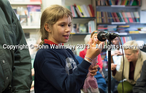 Young member of the audience at the event to discuss Leila Berg's contribution to radical education and children's lives, Houseman's bookshop, London, 22nd May 2013.