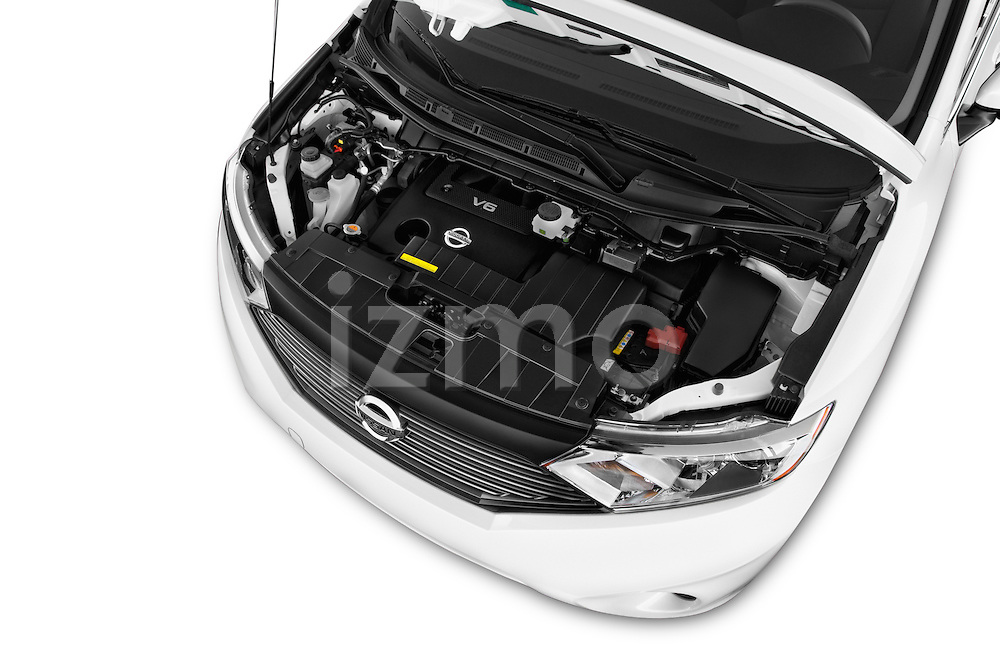 Car stock 2015 Nissan Quest s 5 Door Mini Van engine high angle detail view