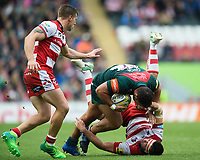 Ellis Genge of Leicester Tigers tackles Lewis Ludlow of Gloucester Rugby to ground. Aviva Premiership match, between Leicester Tigers and Gloucester Rugby on September 16, 2017 at Welford Road in Leicester, England. Photo by: Patrick Khachfe / JMP