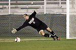 11 November 2005: Maryland goalkeeper Chris Seitz is unable to stop the 49th minute shot from Duke's Zach Pope (not pictured).  The goal gave Duke a 3-0 lead. Duke University defeated the University of Maryland 4-2 at SAS Stadium in Cary, North Carolina in a semifinal of the 2005 ACC Men's Soccer Championship.