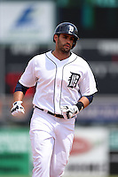 Detroit Tigers outfielder J.D. Martinez (28) runs the bases after hitting a home run during a Spring Training game against the Washington Nationals on March 22, 2015 at Joker Marchant Stadium in Lakeland, Florida.  The game ended in a 7-7 tie.  (Mike Janes/Four Seam Images)