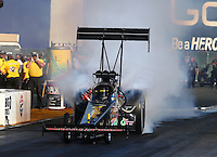 Jul. 25, 2014; Sonoma, CA, USA; NHRA top fuel driver Steve Chrisman during qualifying for the Sonoma Nationals at Sonoma Raceway. Mandatory Credit: Mark J. Rebilas-
