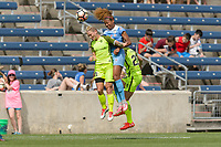 Bridgeview, IL - Sunday June 04, 2017: Jess Fishlock, Casey Short during a regular season National Women's Soccer League (NWSL) match between the Chicago Red Stars and the Seattle Reign FC at Toyota Park. The Red Stars won 1-0.