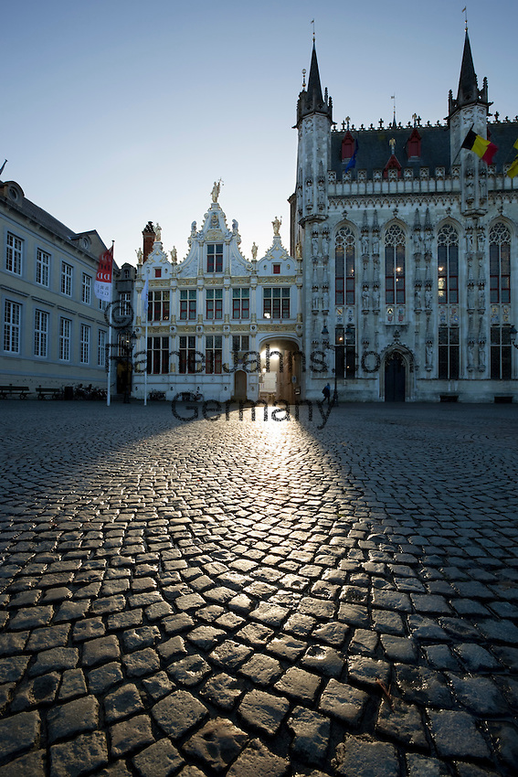 Belgium, West-Flanders, Bruges: The Town Hall and Old Court Record Office in the Burg Square
