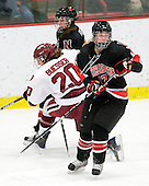 Casie Fields (NU - 9), Kate Buesser (Harvard - 20), Ginny Berg (NU - 17) - The Harvard University Crimson defeated the Northeastern University Huskies 1-0 to win the 2010 Beanpot on Tuesday, February 9, 2010, at the Bright Hockey Center in Cambridge, Massachusetts.