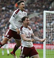 Burnley's Ashley Barnes celebrates scoring his side's first goal with Matthew Lowton<br /> <br /> Photographer Rob Newell/CameraSport<br /> <br /> The Premier League - West Ham United v Burnley - Saturday 10th March 2018 - London Stadium - London<br /> <br /> World Copyright v&Ccedil;&not;&copy; 2018 CameraSport. All rights reserved. 43 Linden Ave. Countesthorpe. Leicester. England. LE8 5PG - Tel: +44 (0) 116 277 4147 - admin@camerasport.com - www.camerasport.com