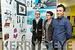 Kerry College of Further Education Art, Craft and Design Exhibition. showcasing Post Leaving Certificate QQI Level 5 Art, Craft and Design students work on Thursday. Pictured Fionn Van deer Noll, Sean Moriarty and Cieran Lane