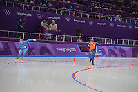 OLYMPIC GAMES: PYEONGCHANG: 15-02-2018, Gangneung Oval, Long Track, 10.000m Men, Davide Ghiotto (ITA), Jorrit Bergsma (NED), ©photo Martin de Jong