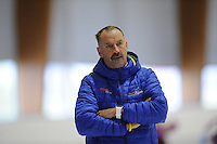 SCHAATSEN: LEEUWARDEN: 21-09-2015, Elfstedenhal, trainer Siep Hoekstra, ©foto Martin de Jong
