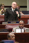 Nevada Assemblyman Ira Hansen, R-Sparks, speaks on the Assembly floor Monday, April 25, 2011, at the Legislature in Carson City, Nev. .Photo by Cathleen Allison