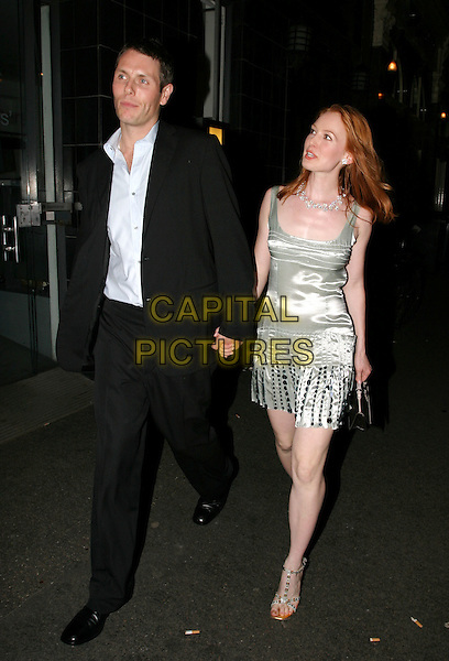 ALICIA WITT.New Ambassador's Theatre - 'The Shape Of Things Press Night.full length, full-length, silver, metallic dress, walking, bag, purse.www.capitalpictures.com.sales@capitalpictures.com.© Capital Pictures.