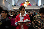 Sunday service at the German protestant church in the old town of Qingdao. The christian community has about 1200 members.