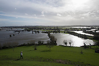 Flooding in the Somerset Levels, village of Burrowbridge. 8-2-14 The view from Burrow Mump.