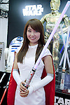 February 7, 2013, Tokyo, Japan - An exhibitor shows a Star Wars sword at TIGS in Tokyo.  The 75th Tokyo International Gift Show (TIGS) is an exhibition of personal gifts, consumer goods and decorative accessories. The TIGS is the largest International Trade Show in Japan, and held semi-annually, each Spring and Autumn at Tokyo Big Sight.  The exhibition is held on February 6 to 8. (Photo by Rodrigo Reyes Marin/AFLO)..