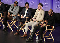 "HOLLYWOOD, CA - MARCH 17:  Aisha Hinds, Kenneth Choi, Ryan Guzman and Rockmond Dunbar at PaleyFest 2019 - Fox's ""9-1-1"" panel at the Dolby Theatre on March 17, 2019 in Hollywood, California. (Photo by Scott Kirkland/Fox/PictureGroup)"