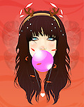 Illustration of trendy teenage girl blowing bubble gum against red background